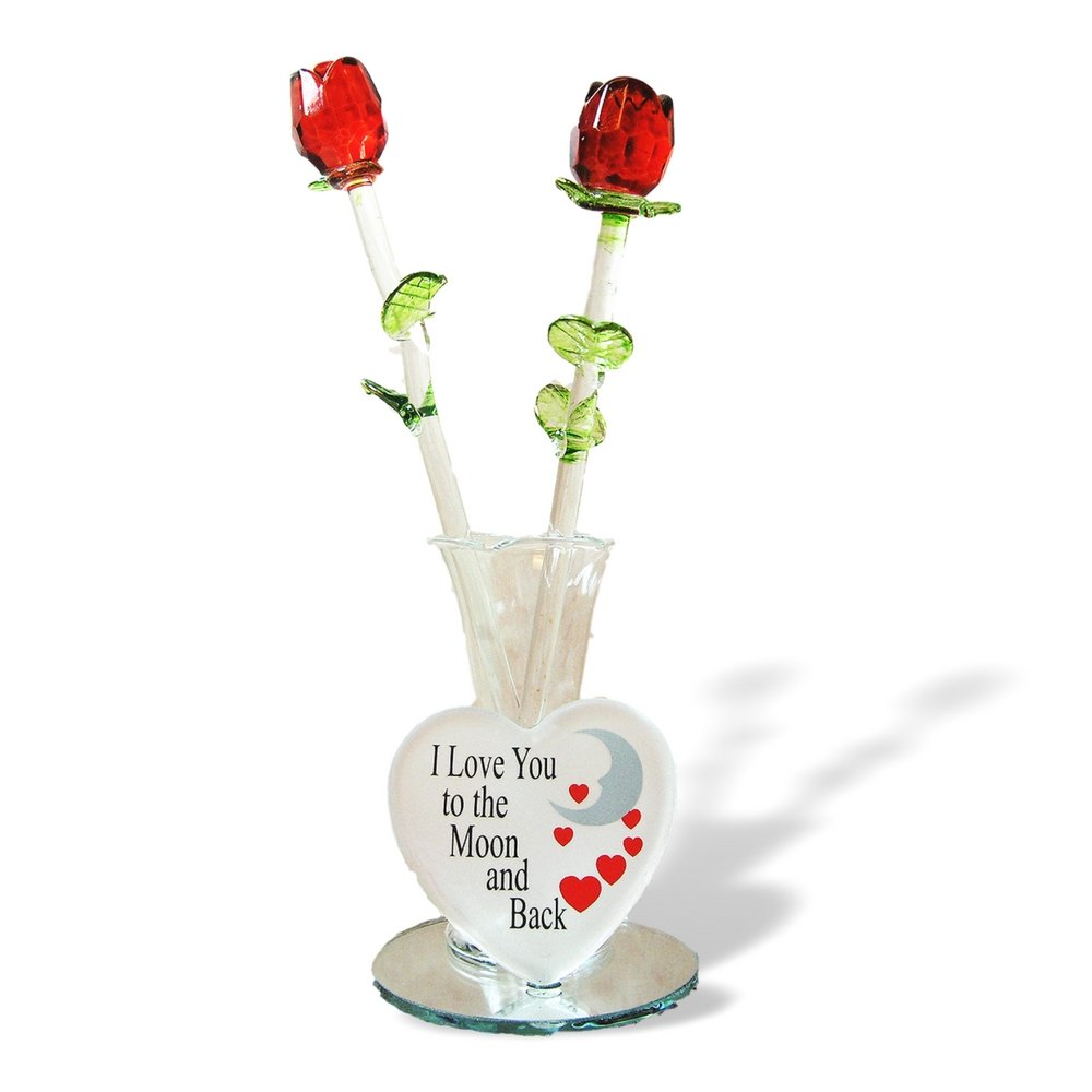 Glass Flower Bouquet - Set of 2 Red Glass Roses in a Heart Shaped Vase - I Love You to the Moon and Back - Mother's Day