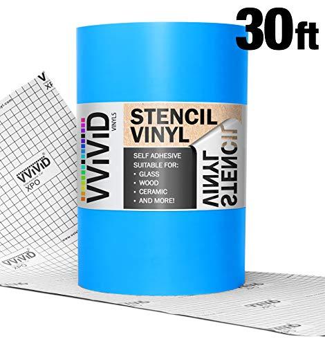 VViViD Blue Low-Tack Adhesive Vinyl Stencil Masking Film 12 Inches x 30 Feet Roll (Vinyl Roll Film)