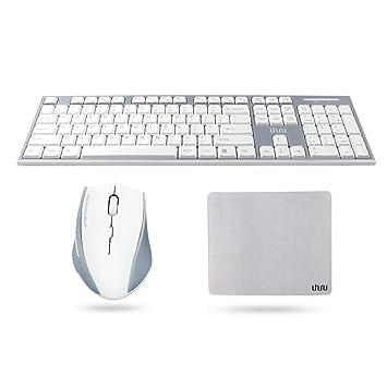 Teclado y ratón inalámbricos con alfombrilla de ratón, UHURU 2.4Ghz teclado inalámbrico silencioso y ratón ergonómico para Windows, PC, ordenador portátil, ...