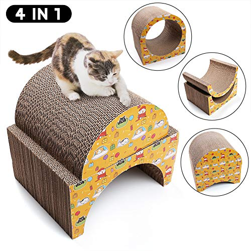 PrimePets Cat Scratcher Lounge Cardboard, Recycle Corrugated Cat Scratching Pads Lounger Sofa Bed, 4-in-1 Removable Cat Scratching Cardboard Cube Insert with Catnip