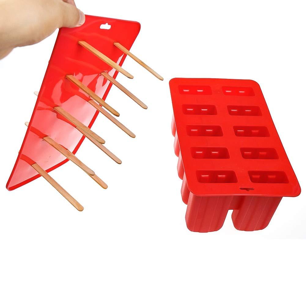 Queta Silicone Stampo per Gelato, 10-Cavity Congelato Stampi per Ghiaccioli con 24 Bastoncini di Legno, DIY Fatti in casa Preparazione di ghiaccioli Gelati
