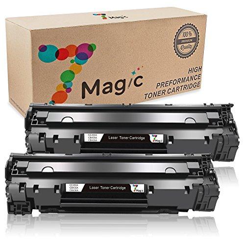 Cb436a Compatible Toner - 7Magic Compatible Toner Cartridge Replacement for 85A CE285A CB435A CB436A Canon 125 Use in LaserJet Pro P1102 P1102W P1006 P1109W P1102 P1005 M1132 M1210 MF3010 M1212NF M1217NFW M1214NFH (2 Black)