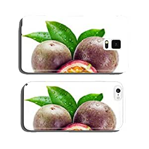 Wet passion fruits with leaves isolated on white cell phone cover case Samsung S6
