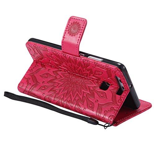 Trumpshop Smartphone Carcasa Funda Protección para Huawei P9 Lite [Azul] 3D Mandala PU Cuero Caja Protector Billetera Choque Absorción Rojo