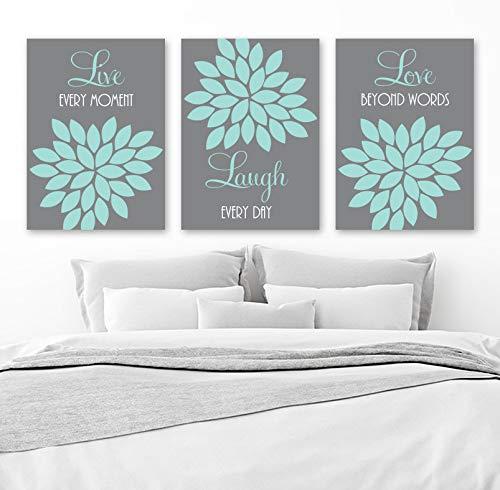 - Live Laugh Love Wall Art Canvas or Prints Gray Aqua Bedroom Pictures Gray Aqua Bathroom Quotes Decor Flower Wall Decor Set of 3 Artwork 8x10 inch