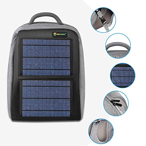 SUNKINGDOM portable hiking Powered Waterproof Anti-theft Durable and mutiple function solar backpack with 12W poly solar panel solar charger for all USB devices by SUNKINGDOM (Image #4)