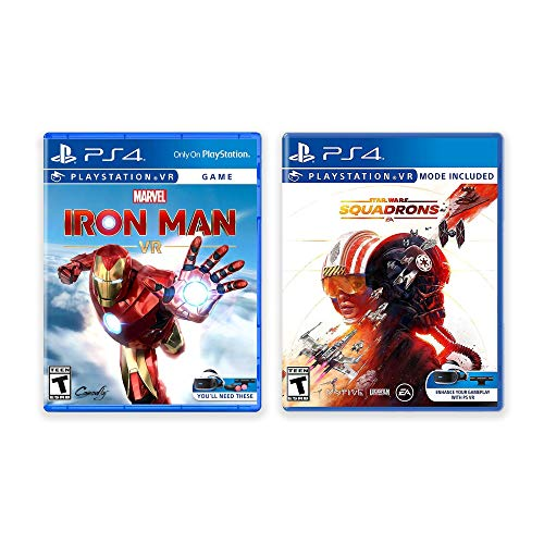 PlayStation VR Iron Man and Star Wars Set, Compatible with PS4 & PS5: VR Headset, Camera, Move Motion Controllers, Iron Man, Star Wars: Squadrons and Mytrix Microfiber Cleaning Cloths