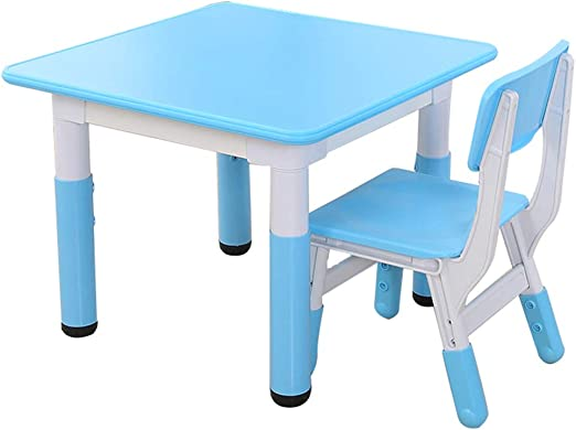 ZH Juego de Mesa de Actividades para niños y 2 sillas, Escritorio de plástico para niños de 2 a 6 años de Edad, Accesorios de Muebles para niños pequeños, Altura Ajustable Cuadrada: