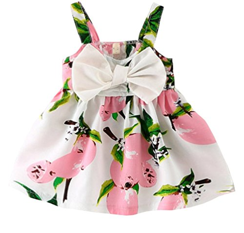 Pink Baby Sling (Rjxdlt Baby Girls Sling Bowknot Lemon Print Skirt Dress 18-24 Months Pink)