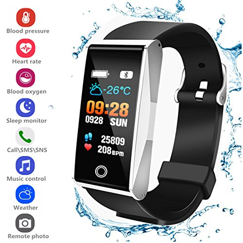 Activity Tracker Smart Bracelet Wristband Sports Watch with Pedometer Heart Rate Monitor IP67 Waterproof Call SMS SNS Remind for Men Women Kids Compatible for Android and iOS ()