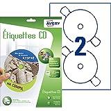 Avery 30 Etiquettes Autocollantes pour CD Maxi couvrantes - Impression Jet d'Encre - Blanc (J8676)