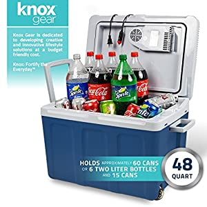 Knox Electric Cooler and Warmer for Car and Home with Wheels – 48 Quart (45 Liter) – Holds 60 Cans or 6 Two Liter Bottles and 15 Cans – Dual 110V AC House and 12V DC Vehicle Plugs