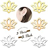 FIBO STEEL 3 Pairs Stainless Steel Lotus Flower Stud Earrings for Women Girls