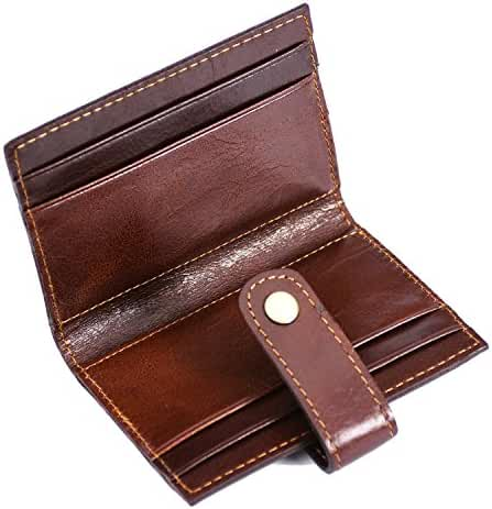FMC Men's Slim Card Holders Genuine Leather Small Thin Credit Card & ID Card Case 8 Card Slots Hasp