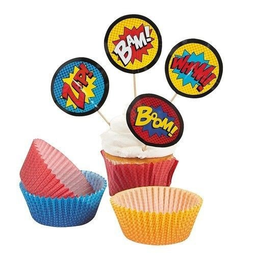 DistiKem(TM) Superhero Cupcake Picks and Baking Cups - 50 cups/50 picks