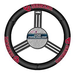 NCAA Oklahoma Sooners Leather Steering Wheel Cover, Black, One Size