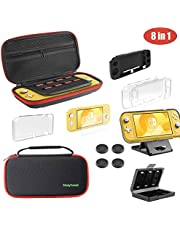 Molyhood Accessories Kit for Nintendo Switch Lite 2019, 8 in 1 Nintendo Switch Lite Carrying Case Include Adjustable PlayStand, Tempered Glass Screen Protector, 4 Thumb Grip Caps and Protective Case