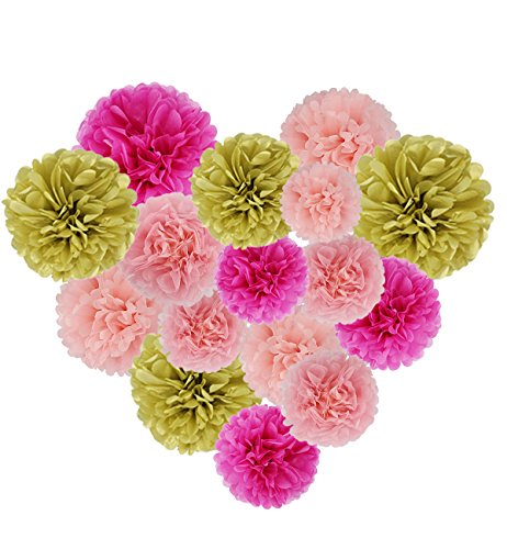 Tissue Paper Pom Poms 16 Pack Decoration Flower Ball Wedding Nursery Birthday Party Supplies Premium Cut Craft Kit with Googly Eyes(Pink & Gold)