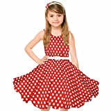 HBB Girl's Classy Audrey 1950s Vintage Rockabilly Swing Party Sleeveless Dress with Belt (Girl's 9/10, Red Dot)