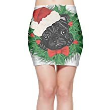 Pug Dog Christmas Puppy Clip Art Women Style Party Mini Skirt