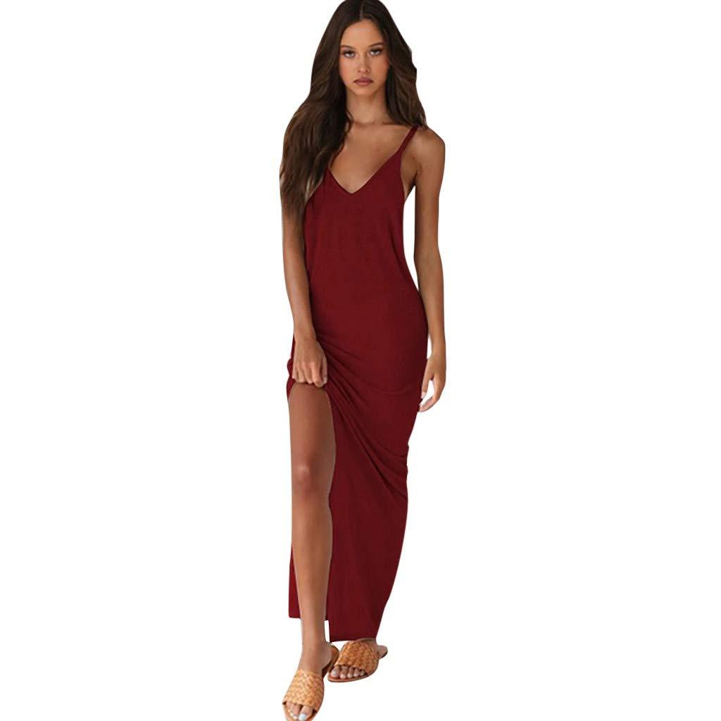 Women Sexy Deep V-Neck Dress, Dianli Fashion Boho Beach Slim Long Dress, Ladies Solid Color Bohemian Slim Fit Maxi Skirt