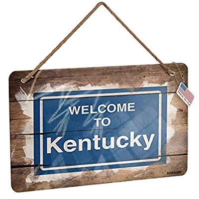 NEONBLOND Metal Sign Sign Welcome to Kentucky Christmas Wood Print