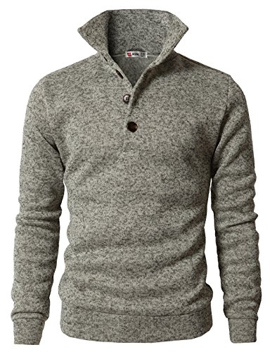 H2H Men's Long Sleeve Henley with Button Collar Pullover Sweater