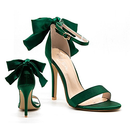 LALA IKAI Women's Ladies Dress Shoes with Bow Cute Green Pink Stiletto High Sandals Heels Open Toe Shoes ()