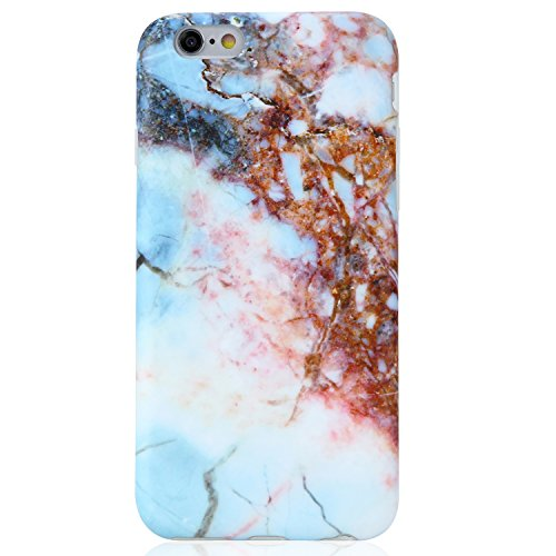 iPhone 6 6S Case Blue and Pink Marble Design, VIVIBIN Thin and Shock Proof Soft TPU Case For iPhone 6 / 6s 4.7