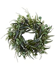 Nearly Natural 4272 24 in. Eucalyptus and Mixed Artificial Wreath, Green