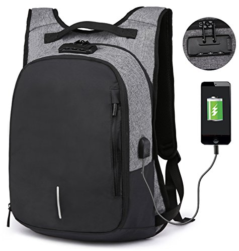 RIONA Laptop Backpack 14.1 Inch Expansion Daypack Coded Lock Anti Theft with USB Port/Water Resistant Nylon Briefcase Laptop Bag Tablet for College/Travel/Business/Sports Men&Women(Grey)