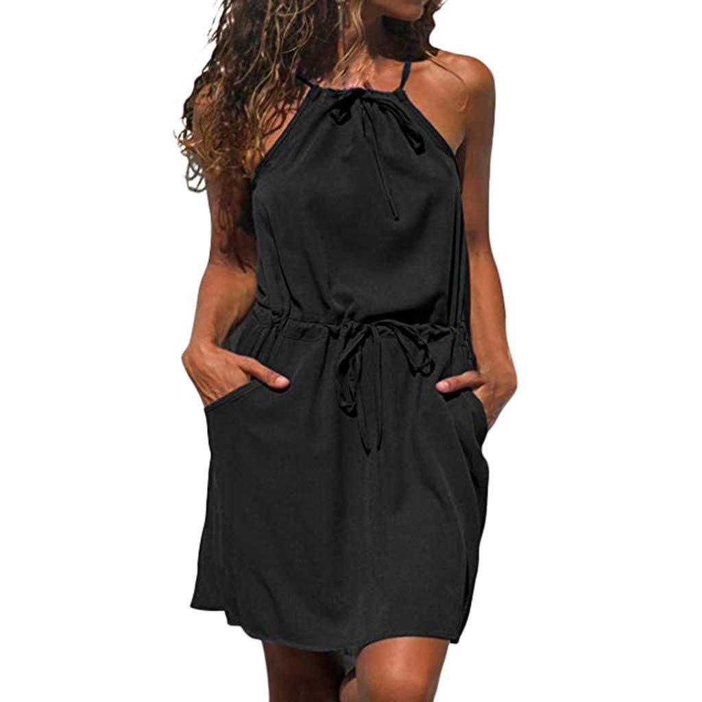 YisiqiCo☪ Summer Women Casual Solid Halter Sleeveless Beach Mini Short Dress