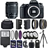 Canon EOS 77D Digital SLR Camera + 18-55mm IS STM Lens + 2 X 32GB + Telephoto + Wide-Angle Lens + Filters + Flash + Case + Tripod - International Version (No Warranty) (18-55mm IS STM)