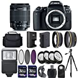 Canon EOS 77D Digital SLR Camera + 18-55mm IS STM Lens + 2 X 32GB + Telephoto + Wide-Angle Lens + Filters + Flash + Case + Tripod – International Version (No Warranty) (18-55mm IS STM)