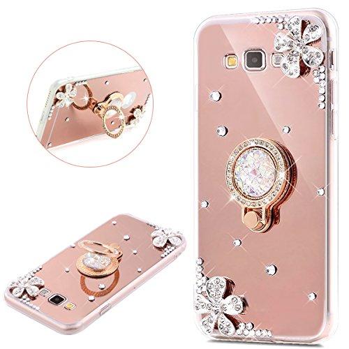 Galaxy J1 Case (2016),Galaxy Luna / Express 3 / Amp 2 Case,PHEZEN Luxury Shiny Bling Glitter Rhinestone Mirror Makeup Case with Ring Holder Stand Diamond Crystal TPU Case for Samsung Galaxy J1 2017 (Luxury 3 Light)