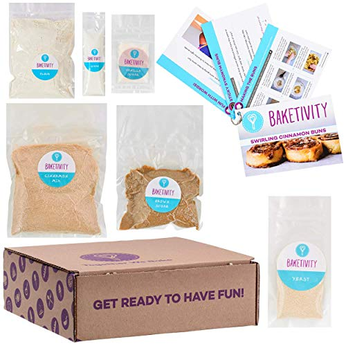 BAKETIVITY Kids Baking DIY Activity Kit - Bake Delicious Cinnamon Buns With Pre-Measured Ingredients - Best Gift Idea For Boys And Girls Ages 6-12