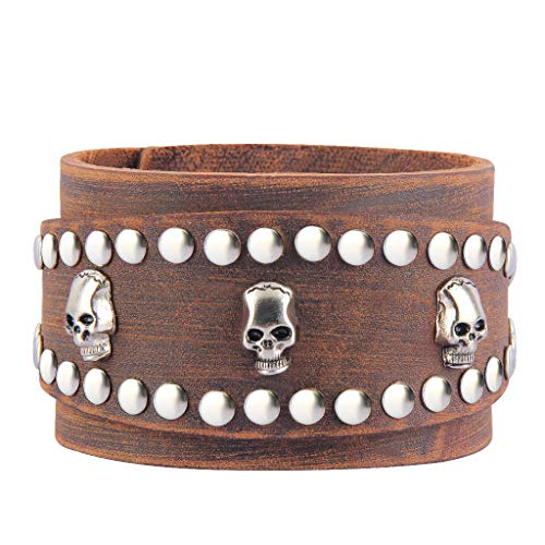 Bfiyi Punk Leather Bracelets Adjustable Wrap Bracelet Skull Cuff Bracelet Rock Leather Wristband for Men, Kids, Boys, Women, Biker, Rocker