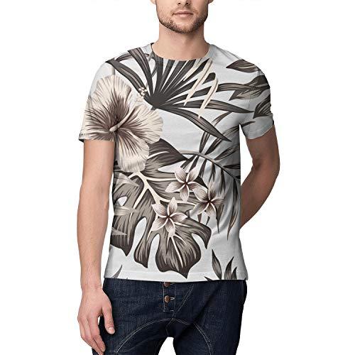 Tropical Floral Hawaiian Monstera Full Printed Short T-Shirts Men ()