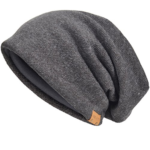 VECRY Men's Cool Cotton Beanie Slouch Skull Cap Long Baggy Hip-hop Winter Summer Hat (Grey)