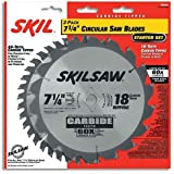 SKIL 75312 7-1/4-Inch Saw Blade Combo Pack with 18 Tooth Crosscutting and Ripping Blade and 40 Tooth Finishing Blade