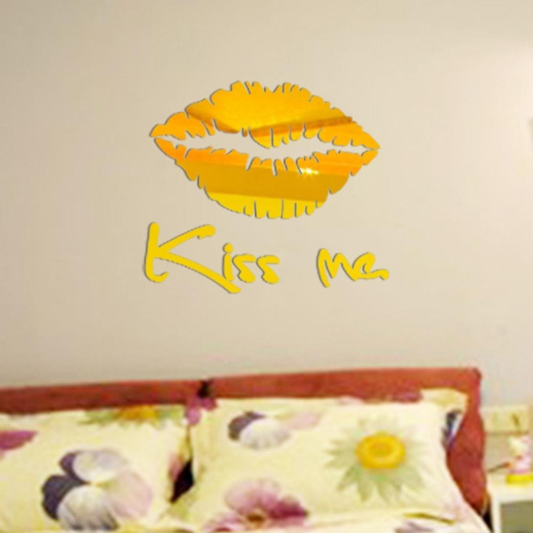 Amazon.com: XUANOU Removable Lip Pattern Mirror Wall Sticker Decal ...