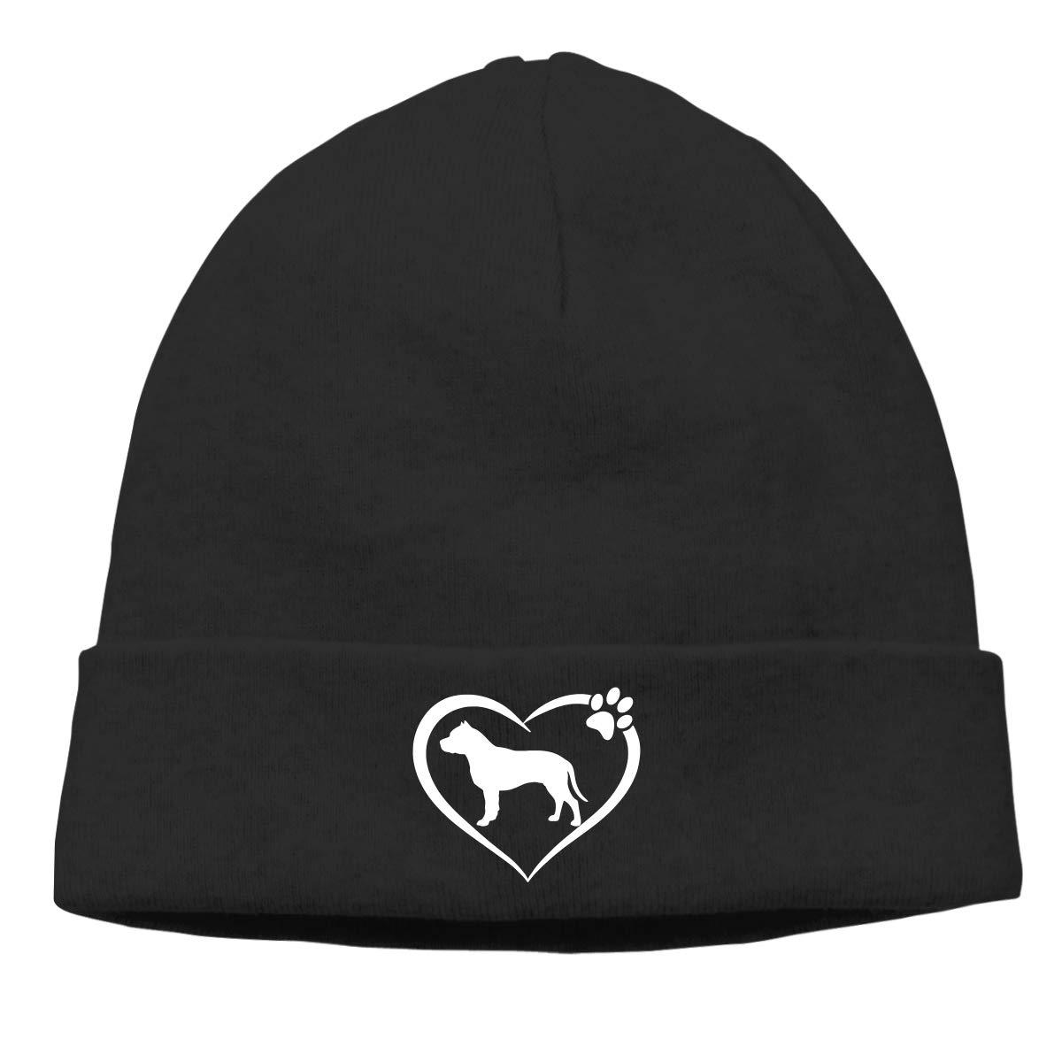 I Love My Pit Bull Mens Beanie Cap Skull Cap Winter Warm Knitting Hats.