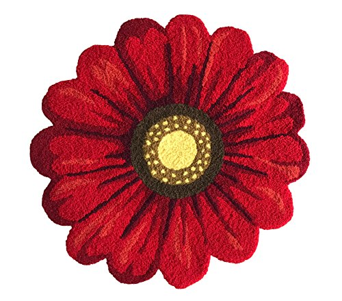 Red Handmade Weaving Sunflower Rug - Girls Bedroom Mat Non-Slip Soft Bathroom Mat Home Decor Floor Rugs 2'x2'