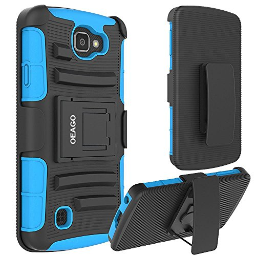 LG K4 LTE Case, OEAGO LG Spree Holster Case [Drop Protection] [Heavy Duty] Defender Full Body Protective Hybrid Case Cover with Kickstand Belt Clip for LG K4 LTE / LG Spree / LG Rebel LTE - Light Blue