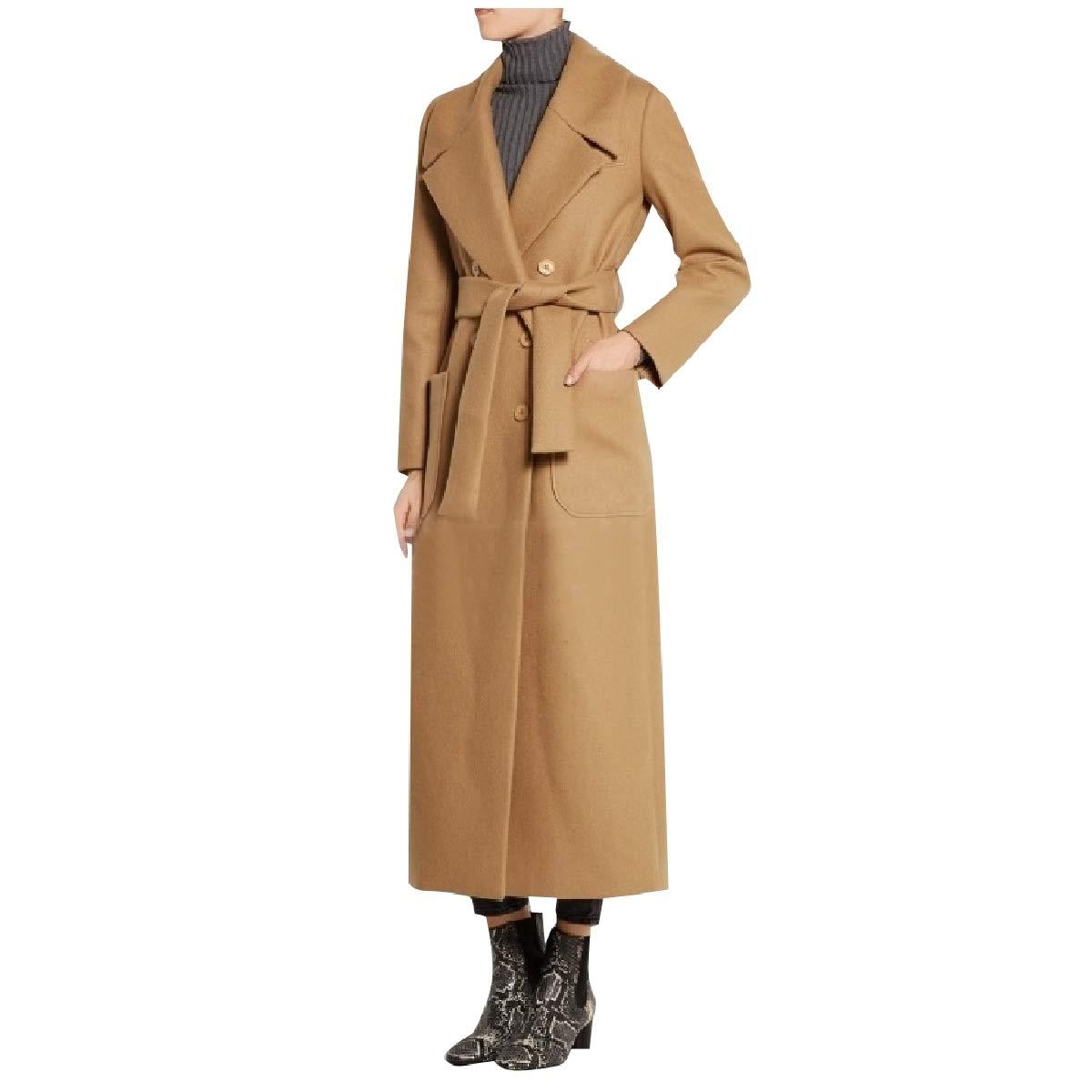 YUNY Women Faux Wool Long Slim Fitting Classics Trench Tunic Pea Coat Camel XS