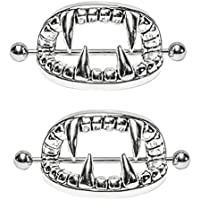 XIDAJE Cool Stainless Steel Bad Mouth Nipple Shield Piercing Jewelry , 2 pcs/pair
