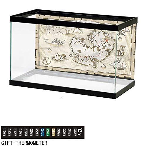 (bybyhome Fish Tank Backdrop Island Map,Skull Pirate Ship Kraken,Aquarium Background,36