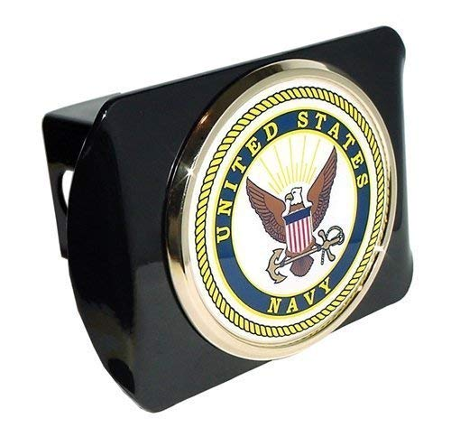 Elektroplate US Navy USN Black Metal Trailer Hitch Cover with Metal Seal ()