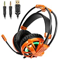 Gaming Headset, 7.1 surround sound Earphone with LED Light Noise Isolating Over Ear Gaming Headphone Stereo Bass with Mic For PC