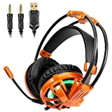 Gaming Headset - 7.1 surround sound Earphone with LED Light Noise Isolating Over Ear Gaming Headphone Stereo Bass with Mic